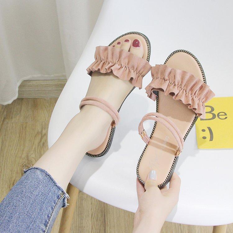一字带凉鞋女夏平底学生韩版荷叶边2019新款时尚百搭一鞋两穿凉拖