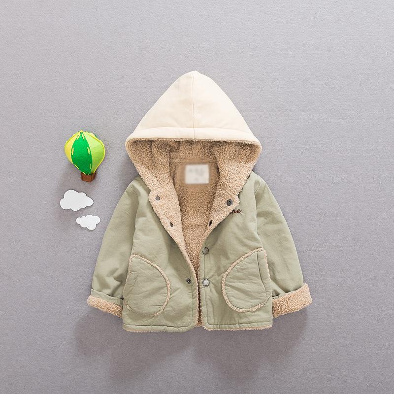 宝宝加绒棉衣秋冬装外套加厚0-1-3岁2男童婴儿夹棉上衣服羊羔毛潮图片