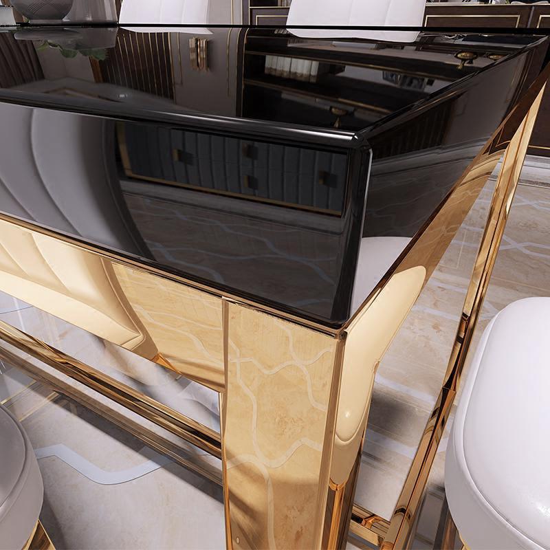 餐桌简约后现代餐厅黑色金色餐台餐椅方形餐桌餐椅组合家具