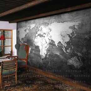 3D立体黑白世界地图壁纸个性西餐厅酒吧酒店卧室客厅沙发背景墙纸