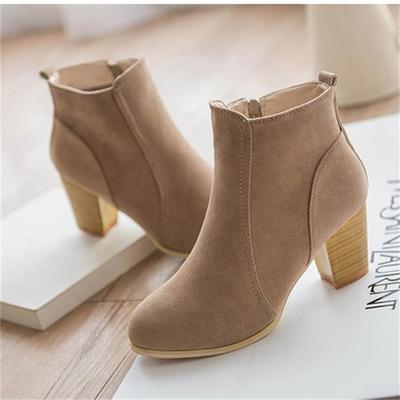 欧美201春秋短筒单靴马丁靴女时尚中跟圆头粗跟短靴女裸靴及踝靴