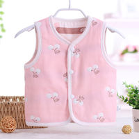 Newborn baby vest spring and autumn thin section wear summer 0 gauze baby vest 1 child cotton cardigan 3 years old 2