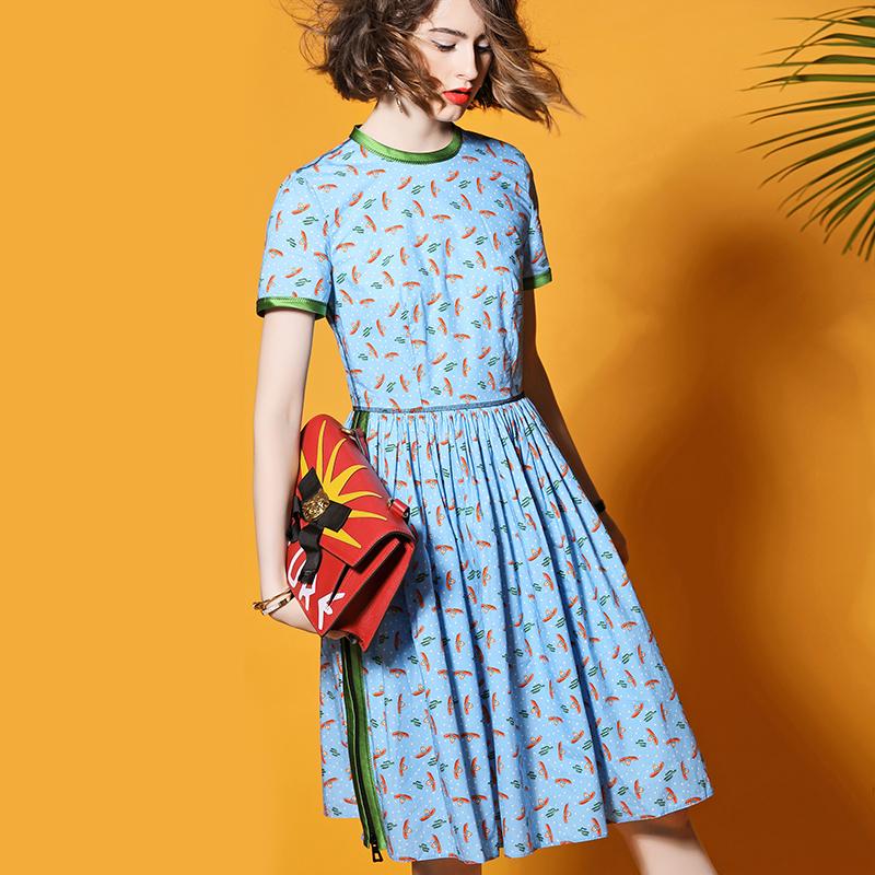 秋季复古中裙短袖女生百褶裙侧边拉链拼接连衣裙波点印花纯棉裙子