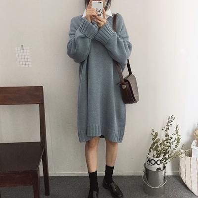 新款韩国chic慵懒风宽松百搭V领毛衣中长款针织连衣裙毛线裙女装