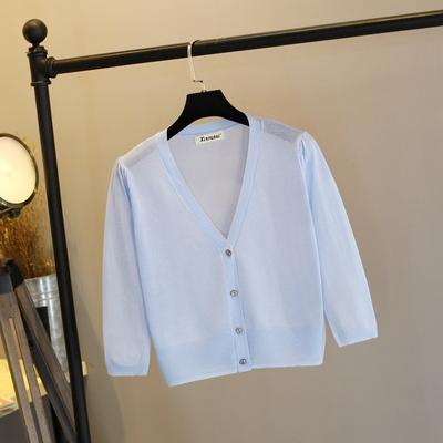2018新款空调衫女大码夏季防晒冰丝针织开衫女外搭薄外套短款披肩