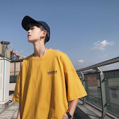 夏季黄色短袖t恤韩版宽松衣服潮流男装情侣半袖2018新款文艺男士
