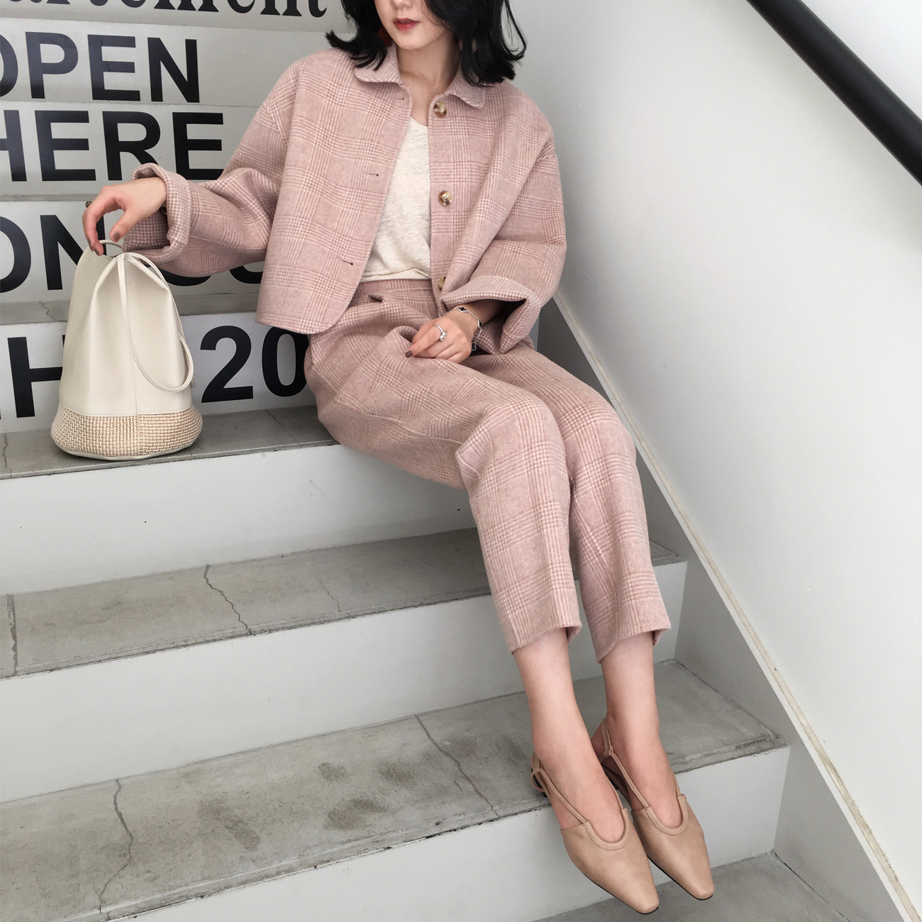 ◆ASM◆2018秋季新款气质格纹毛呢外套纯色套装短款羊毛大衣女装