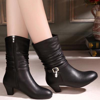百丽 晶客秋冬马丁靴真皮中跟女靴子粗跟鞋中短靴圆头中筒靴裸靴