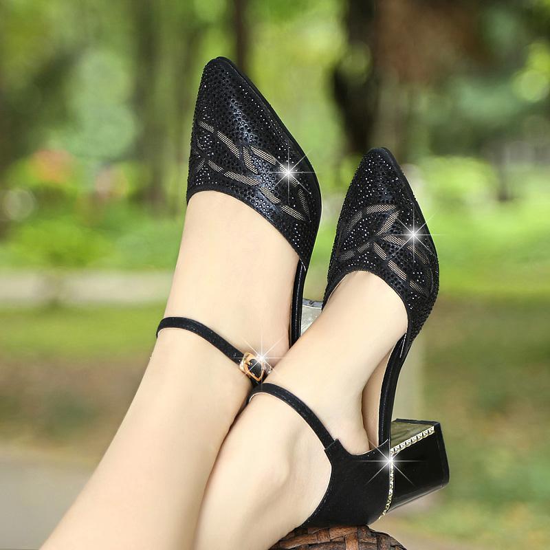 尖头中跟单鞋女鞋浅口水钻