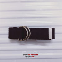 Casual pure black canvas belt student youth men's embroidery automatic buckle hoop belt tide people