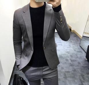 韩国新款 男士 两件套西装 配长裤 修身 欧美英伦风西服套装 时尚
