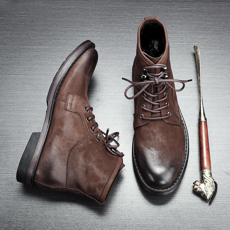 英伦男士厚底圆头马丁靴男靴子高帮复古磨砂短靴中帮工装大头鞋男