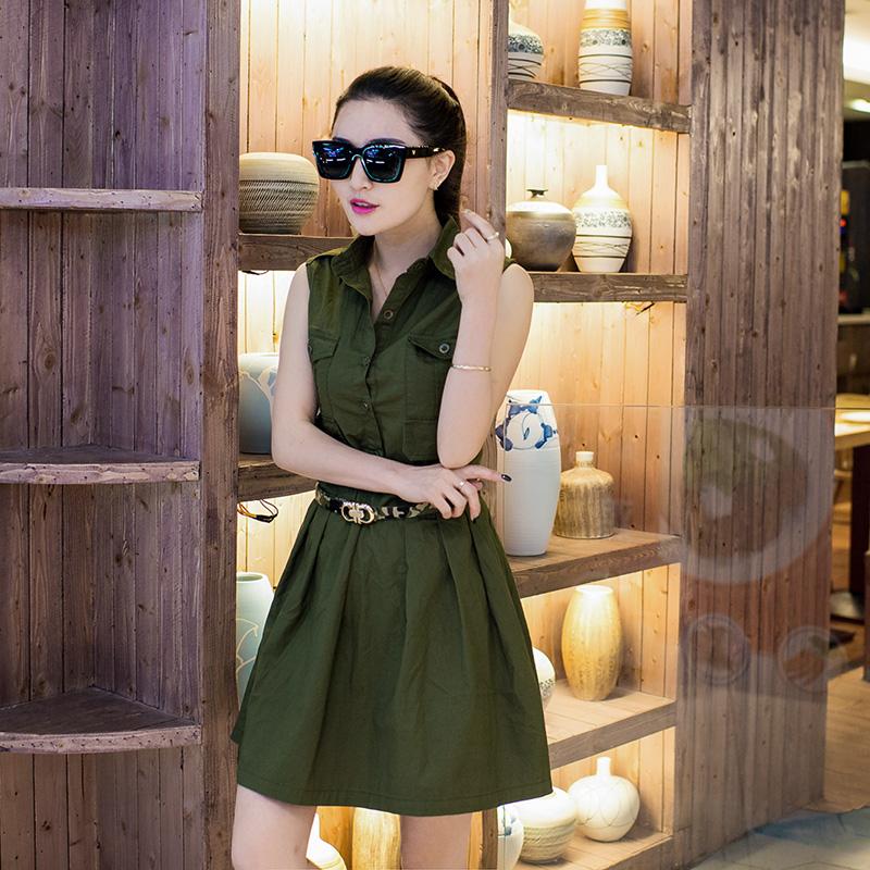 夏新款中长款迷彩连衣裙女军迷纯棉A字裙军绿色韩版修身无袖中裙