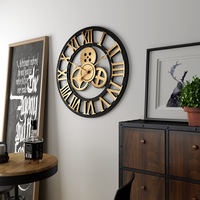 Gear wall clock industrial wind clock hollow designer with living room clock retro personality mute creative fashion watch