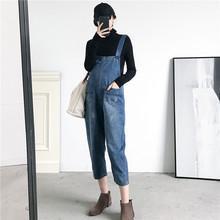 套装 孕妇装 秋冬季时尚 宽松减龄牛仔背带裤 潮妈套装 韩版 2018新款