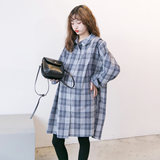Pregnant dress 2019 autumn fashion new shirt Korean version plaid casual mid-length shirt skirt trend mom shirt spring