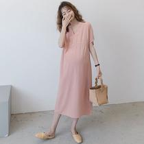 领上衣孕妇裙连衣裙V专柜品牌夏季韩版孕妇短袖中长款孕妇装纯色