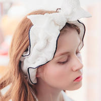 New gauze month head scarf hollow bow lace cute wide-brimmed headband female wash makeup wash hair band
