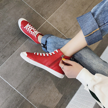 High-top canvas women's shoes new spring and autumn 2019 Korean version leisure shoes flat sole cowhide Baitao students slim single shoes