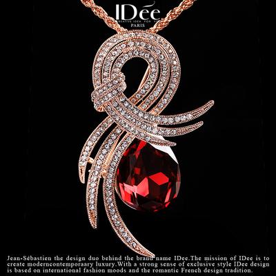 法国IDee几何红宝石毛衣链女秋冬长款奢华欧美水晶饰品吊坠