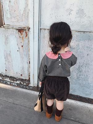 允儿妈女童2019春季新款儿童撞色格子衬衣宝宝娃娃领百搭可爱上衣