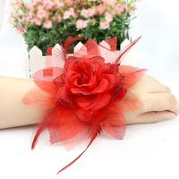 Bride wrist flower wedding boutonniere feather head flower bridesmaid hand flower wedding wedding supplies