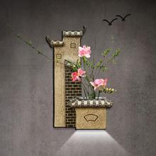 中式壁饰花插壁挂墙贴创意客厅玄关背景墙面装饰挂件墙饰走廊壁灯