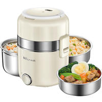 Bear electric lunch box three-layer plug-in electric insulation heating with rice cooking hot rice cooker 1-2 student electric cooker