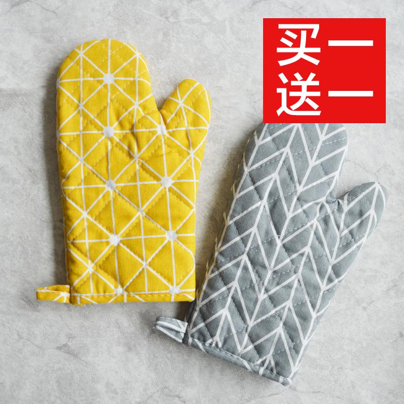 日式棉麻加厚隔热手套 微波炉耐高温手套厨房烘焙烤箱专用手套