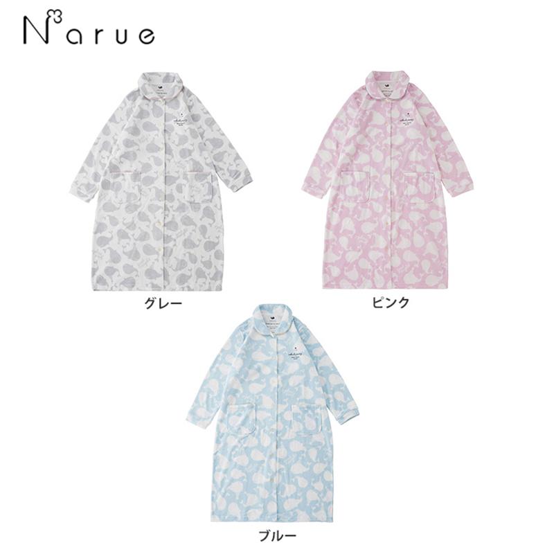 narue日本贴身暖和长款睡裙 衬衫领子裙装家居服18-71002