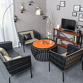铁艺沙发桌椅组合loft复古工业风工作室单人三人简约现代北欧美式