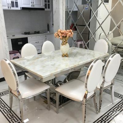 简约现代大理石餐桌欧式高档客厅吃饭餐台长方形不锈钢餐桌椅组合领取优惠券