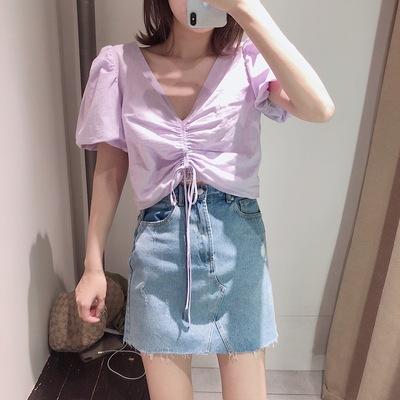 UR DESY19夏季新女装抽绳饰V领高腰韩版小众衬衫WG16S2CE2006