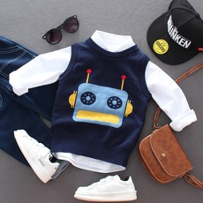 Children's sweater vest boys and girls baby baby sweater vest autumn and winter thick warm cotton vest Korean version