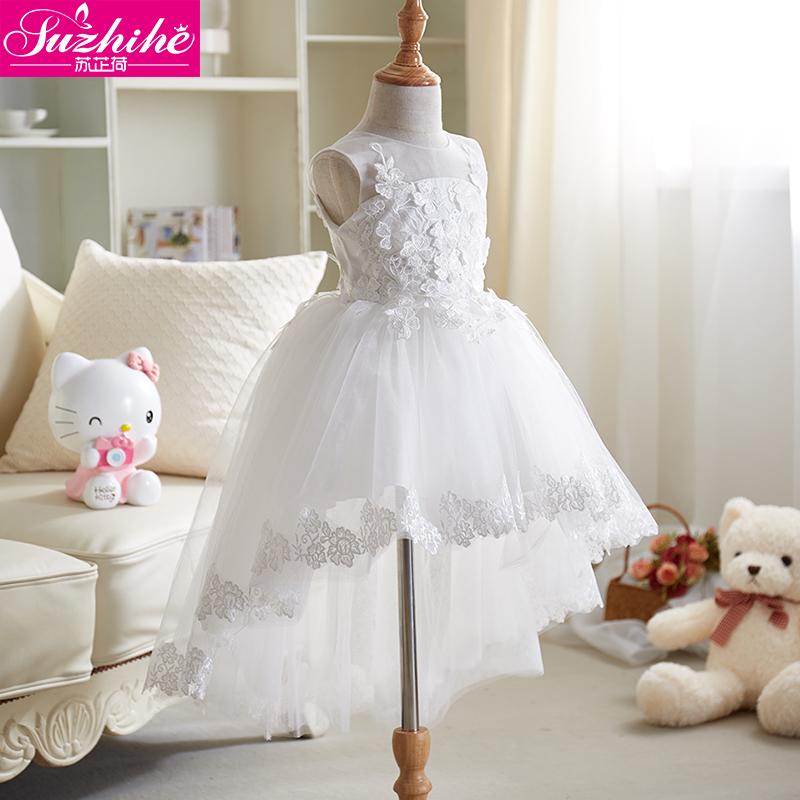 儿童婚纱拖尾长裙