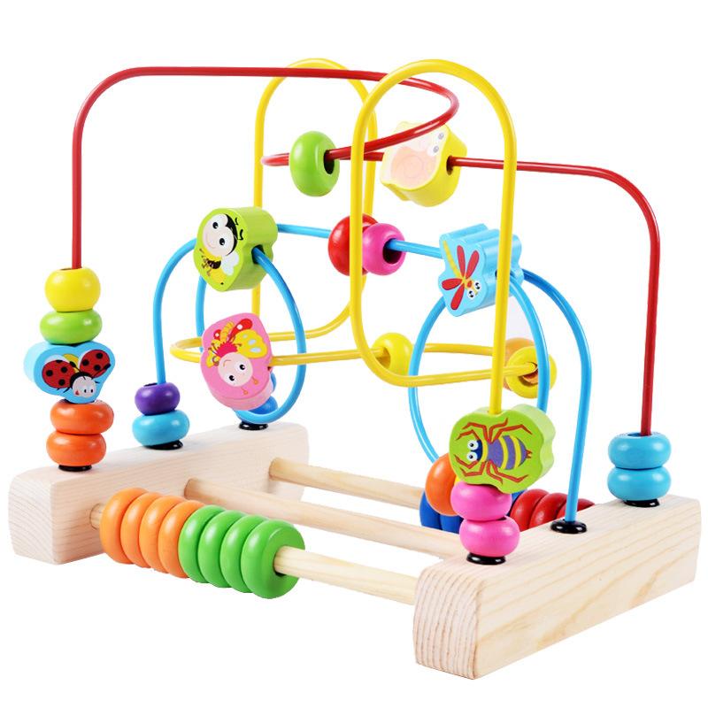 儿童绕珠玩具 实木制水果i彩色串珠宝宝手眼协调锻炼 益智玩具批