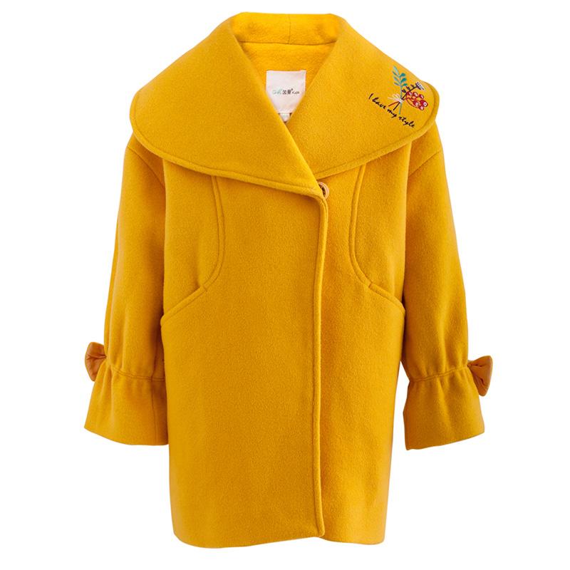 茵曼童装冬羊毛呢外套儿童女中大童公主洋气新年装加厚呢子大衣