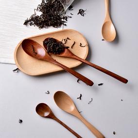 吉乐岛 日式木勺子 实木咖啡蜂蜜勺儿童汤勺饭勺调羹长柄勺搅拌勺