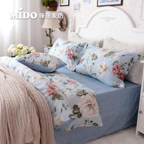 全棉四件套纯棉被套1.8m床笠被套美式田园1.5m床单床上用品4件套
