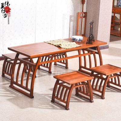 仿古实木家具榆木中式马鞍桌茶桌琴桌学生国学书画桌组合五件套