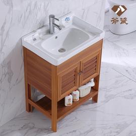 小户型落地式洗手盆洗脸盆柜组合阳台陶瓷一体台盆卫生间洗漱台图片