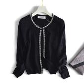 优雅小香风钉珠镂空纯色长袖一粒扣针织开衫女短款女外套3954