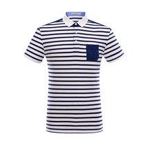 工厂男装剪标尾D 2018夏季新T恤休闲蓝白条纹印花短袖T恤男POLO衫