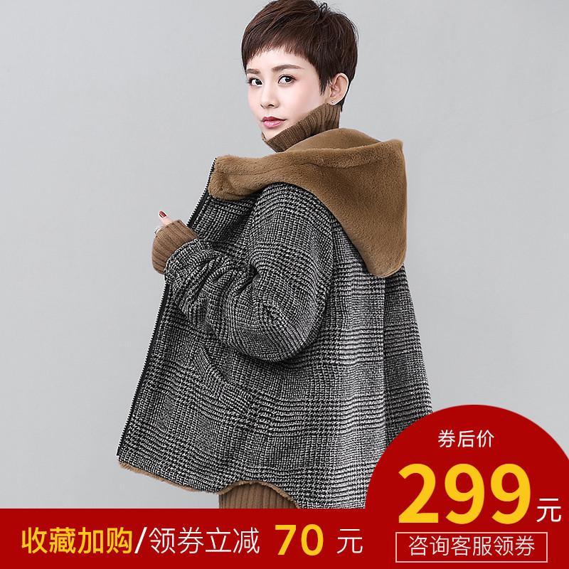 格子棉衣韩版