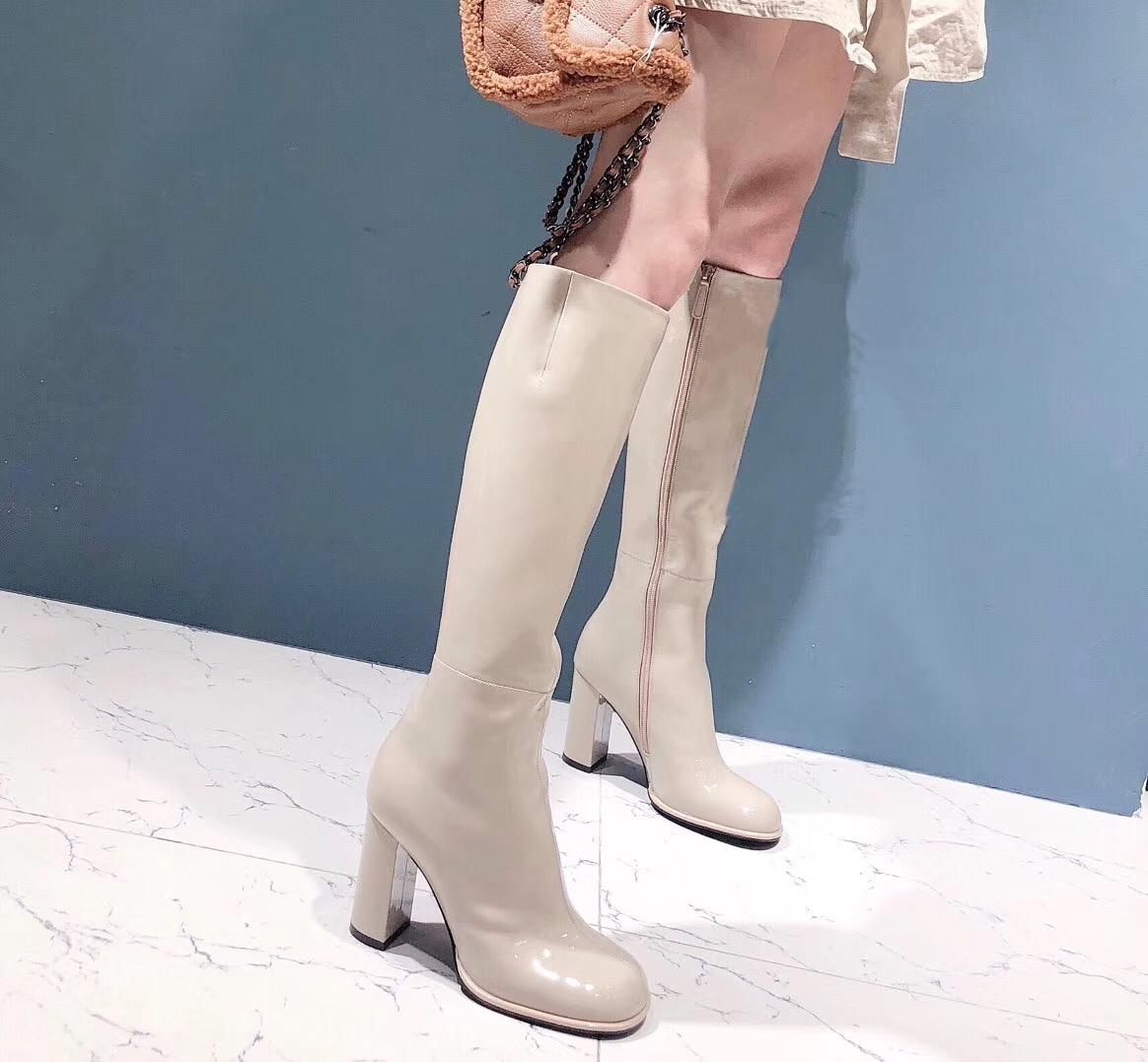 2018秋冬新款真皮高跟鞋女粗跟长筒靴圆头过膝靴女靴子骑士靴长靴