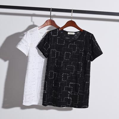 加肥加大码女装2019春夏新款短袖T恤胖妹妹宽松显瘦藏肉打底上衣