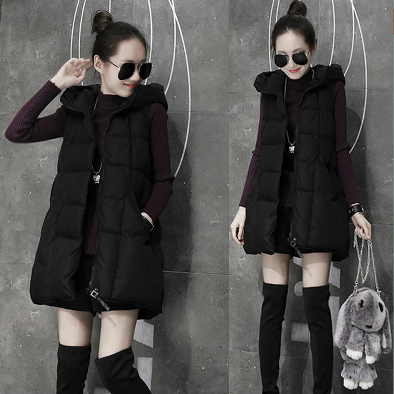 2018 autumn and winter new long down cotton vest ladies Korean version of the thin horse