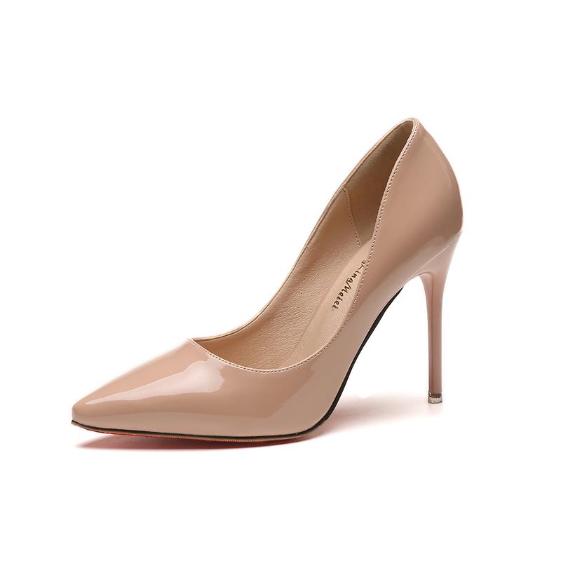 鞋子女2018新款裸色细跟高跟鞋 尖头黑色工作单鞋女漆皮蓝色大码