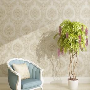欧式3D立体环保无纺布壁纸 浮雕大马士革花卧室客厅电视背景墙纸
