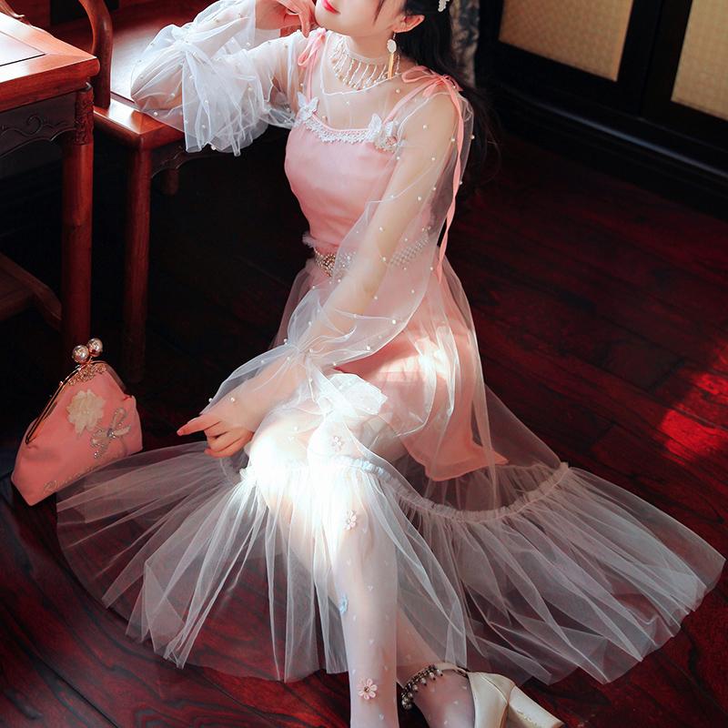 陛下兰他惜春夏新款复古温柔仙女灯笼袖网纱仙气长款连衣裙2件套